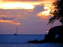 Immensity (Aur Bel) Tags: ocean sunset sky mer beach clouds landscape outside boat peace martinique ciel nuage bateau plage madinina