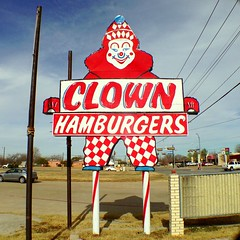 Clown Hamburgers Signage. Haltom City, Texas. #clowns #texas #signage #vintagesigns (dcescott) Tags: texas signage clowns vintagesigns