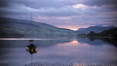 bala lake (whthchr) Tags: bridge autumn trees lake nature water architecture night buildings reflections river boats lights cityscape cheshire natural transport foggy chester frame dee bala northwales