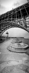 Fort Point Roof (leshapiro) Tags: panorama blackandwhite film fortpoint noblex goldengate