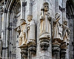 Corner of the Ratsturm tower built in the late Gothic style, City Hall, Cologne Germany (PhotosToArtByMike) Tags: rathaus colognecityhall klnerrathaus oldtownhall colognegermany cologne germany ratsturm tower cityhall sculpture statues dom koln klnerdom oldtown rhineriver oldquarterofcologne europe