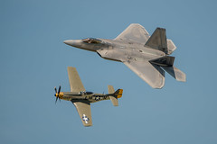 USAF Heritage Flight, Dayton Vectron Airshow, 20170618 (georgeland675) Tags: usafheritageflight2016 lockheedmartinf22araptor 024032 43rdfightersquadron 325thfighterwing tyndallafb florida p51d25na 4472086 flownas4415137 lhr babyduck captherbertgkolb350thfightersquadron 353rdfightergroup 8thairforce raydon194445 p51d pilot valdo lenoch