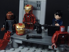 Nick Fury Visits Stark (MrKjito) Tags: boss man iron comic lego nick tony movies shield minifig marvel director stark universe cinematic fury avengers
