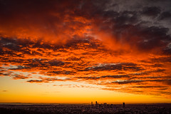 Colour before the sunrise over Brisbane (NettyA) Tags: 2016 australia brisbane mtcoottha mtcootthalookout qld queensland sonya7r clouds seqld sunrise sky colourful red city skyline cloudsstormssunsetssunrises