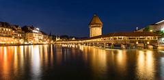 Lucerne, Switzerland (maxunterwegs) Tags: bluehour bridge brcke dusk kapellbrcke lucerne luzern nacht night noche noite nuit pont ponte reflection reuss schweiz suisse suiza sua switzerland