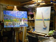 Night Lights and Ballast drying (polusladkaia) Tags: marina painting marine sailing originalart canvas oil pacificnorthwest nautical sailboats copyring2015bvfbetker