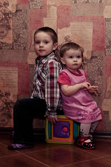 Pavel & Alice (ValeTer_) Tags: pink boy portrait girl wall shirt children bedroom alice jeans pavel