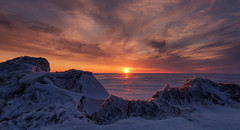 Icy Lake Huron Sunset