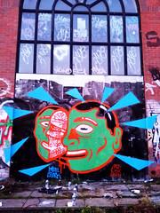 Mudrok X Knee Jerk in Brighton, UK (KNEE JERK) Tags: triangles graffiti montana brighton characters spraypaint quickpiece mtn94