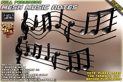 Mesh Music Notes ~Full Permission~ (¸.•*Daffy Proto*•.¸) Tags: musician club notes secondlife pentagram instrument marketplace