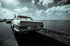 parked by the lake (bjdewagenaar) Tags: sky bw white lake black water car clouds vintage mercedes benz raw angle pavement sony wide sigma split alpha 1020mm tone lightroom a58 10mm