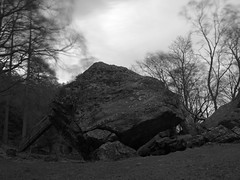 The Bowder Stone in Borrowdale (kyliepics) Tags: olympus e520 evolt520 olympuszuikodigital1122mmf2835 weldingglassfilter rawtherapee blackwhite lakedistrict landscape addedtogroups