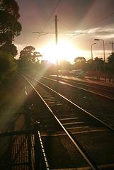 Glengowrie Tram Stop (msmith890) Tags: morning sky sun sunlight clouds sunburst tramstop tramline