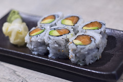 Free happy hour Salmon Roll. (katie.biese) Tags: food green vegetables sushi happy japanese avocado ginger healthy cucumber salmon hour veggies wasabi