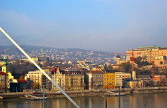Sunny Buda (Anna Sikorskiy) Tags: life city morning travel sky urban sunlight mountains colors beauty skyline modern reflections landscape europe hungary cityscape arty artistic budapest atmosphere naturallight historic explore riverfront