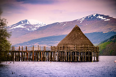 Crannog - Loch Tay (Clydebank Photography) Tags: trees snow mountains water fujifilm manualfocus crannog lochtay samyang xpro1 samyang85mmf14 fujifilmxpro1