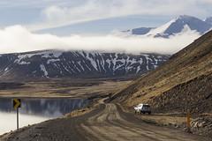 Parking at Alftafjorur (JoshJackson84) Tags: road sea mountain snow car sign iceland europe peak vehicle fjord gravelroad westiceland canon60d sigma18250mm alftafjrur