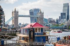 Houseboat, Tower Bridge, London (godrick) Tags: uk england london thames skyline towerbridge river pier cityscape houseboat riverthames gbr