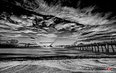 Florida Life: Poetry Of A Cloud (Thncher Photography) Tags: sky bw beach monochrome clouds landscape pier blackwhite sand waves florida sony scenic tropical jupiter fullframe fx atlanticocean waterscape junobeach oceanscape junobeachpier southeastflorida zeissfe1635mmf4zaoss a7r2 ilce7rm2 sonya7r2