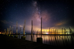 Summer-Milkyway (DJawZ) Tags: ocean city longexposure sky water night clouds dark stars landscape bay pier dock nightscape astro atlantic astrophotography milkyway
