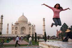 Taj Mahal jump - Agra, India (Maciej Dakowicz) Tags: people india jump streetphotography tajmahal agra tourist moment womanindiaagratajmahalmonumentlandmark