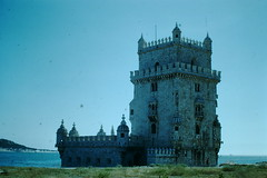 1953- Portugal- Tower of Belem- Ent to Harbor- Lisbon (foundslides) Tags: lisboa portugal europe 1953 1950s tourist irmalouisecarter irmalouiserudd foundslides redborder kodachrome kodak photo picture photos tourists travel iberia vintage retro old photography amateur analog slidecollection irmarudd