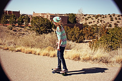 (K. Sawyer Photography) Tags: road trees portrait girl sunglasses cacti skateboarding hill teen adobe skateboard teenager teenage placitasnewmexico