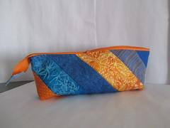 Stiftemäppchen blau (blauer_jeansstern) Tags: blau schule tasche täschchen gelborange stifte kleinkram endlosreisverschlustäschchen