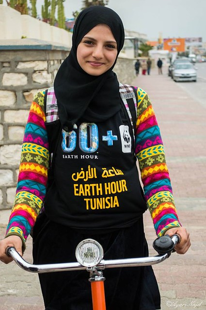 Earth Hour volunteer from Tunis at a biking day event