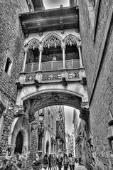CFR4316 The Bridge (BW) (Carlos F1) Tags: barcelona old city bw white black building blanco church architecture high spain arquitectura nikon dynamic cathedral negro bcn edificio catedral iglesia ciudad bn range viejo alto barrio neighbourhood hdr antiguo gotico gotic d300 barri dinamico rango