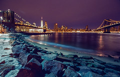Nighttime Between the Bridges, Dumbo (Raphe Evanoff) Tags: nyc film spring kodak chrome elite