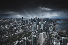 Toronto: Study from Light to Dark 05 (seango) Tags: city 6 toronto ontario canada storm tower skyline architecture clouds cn lens nikon cntower view zoom cloudy ominous may wideangle aerial helicopter skydome nikkor f28 tdot hogtown 416 2016 rogerscentre torontoskyline d600 6ix the6 streetsoftoronto 1424mm seango the6ix