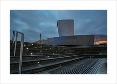 First light over the IWM (andyrousephotography) Tags: longexposure morning sky motion blur architecture modern clouds dawn salfordquays drift iwmn firstlight imperialwarmuseum earlystart