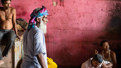 Drama at the Flower Market (phil.w) Tags: street pink blue india flower men wall beard colorful pentax market headscarf numbers pirate vendor turban drama tension limited kolkata calcutta smcpfa43mmf19