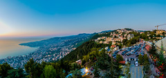 Amazing View Of Maameltein From Harissa, Lebanon (Paul Saad) Tags: blue sunset sky panorama lebanon sun mountain beach sunrise coast nikon pano panoramic hdr mediterenean harissa jounieh tabarja maameltein