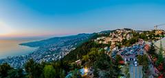 Amazing View Of Maameltein From Harissa, Lebanon (Paul Saad (( ON/OFF ))) Tags: blue sunset sky panorama lebanon sun mountain beach sunrise coast nikon pano panoramic hdr mediterenean harissa jounieh tabarja maameltein