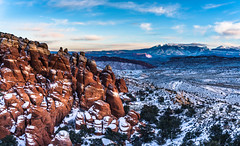 Sandstone Pinnacles (m e a n d e r i n g s) Tags: winter landscape utah sandstone spires moab archesnationalpark fins pinnacles snowscape
