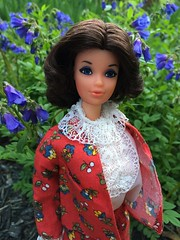 Steffie (Foxy Belle) Tags: steffie barbie doll vintage walk lively miss america flowers mod red suit lace collar brunette brown hair bargain 1970s face best buy floral garden flower outside nature mattel