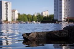 Rocks at shore (aleksigron) Tags: sea urban building tree water rock bay outdoor