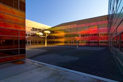 _DSC2230 (durr-architect) Tags: light sun colour reflection netherlands glass architecture modern facade offices almere dfense berkel unstudio
