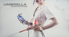 Our business is life itself (Mike Rollerson Photography) Tags: red woman girl umbrella costume outfit model uniform gun cosplay medical laboratory syringe horror residentevil umbrellacorporation tvirus syringegun