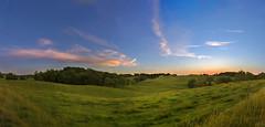 180 degree pano of countryside sunset (static_dynamic) Tags: sunset summer panorama usa green landscape countryside nikon outdoor farm maryland farmland