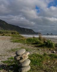 Near Punakaiki (oldad57) Tags: travel newzealand beach coast pentax shore southisland cairn k5