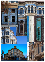 Hastings Building Montage (James_D_Images) Tags: blue windows architecture victorian arches montage porttownsend pacificnorthwest weathered aged washingtonstate 1890 hastingsbuilding