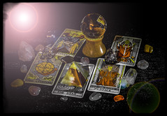 The Meaning Of Life (IAN GARDNER PHOTOGRAPHY) Tags: life stilllife crystals pyramid space pebbles tarot spiritual occult crystalball autofocus tarotcards themeaningoflife