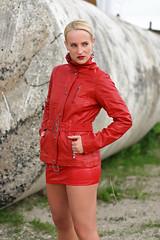 SandraB 47 (The Booted Cat) Tags: sandrab sexy blonde model girl leather jacket mistress dominatrix legs miniskirt