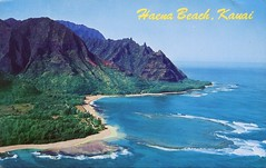 Haena Beach, Kauai (SwellMap) Tags: architecture vintage advertising design pc 60s fifties postcard suburbia style kitsch retro nostalgia chrome americana 50s roadside googie populuxe sixties babyboomer consumer coldwar midcentury spaceage atomicage