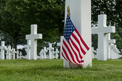Flag @ American Cemetery (Margraten) (PaulHoo) Tags: lumix 2016 limburg holland netherlands cemetery cross buried flag american grave sorrow margraten ww2 second world war killed suffering rip remembering proud stars stripes allied forces