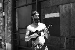 """I'm going to fix it up"" (fRawnco) Tags: street blackandwhite white man black monochrome outdoors 50mm prime nikon ukulele guitar outdoor deep fixed local ellum d810"