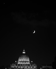 Moon on St Peter's Basilica (Marco_964) Tags: light bw moon basilica luna sanpietro notte bianconero stpeter